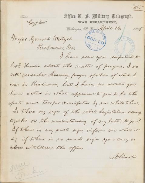 Abraham Lincoln to Godfrey Weitzel