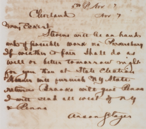 Stager to Eckert, Nov. 7, Thomas T. Eckert Papers, mssEC 30, The Huntington Library